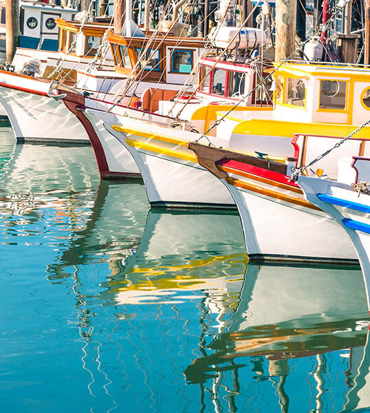 Boats lined up at Fisherman's Wharf in San Francisco
