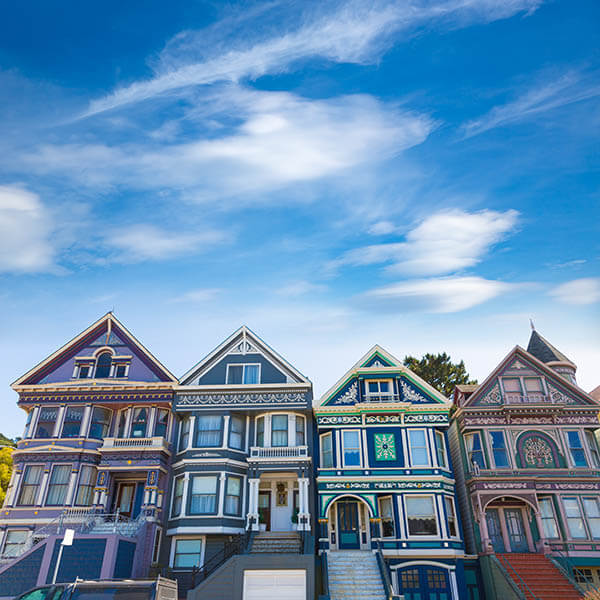 A row of Victorian houses in San Francisco