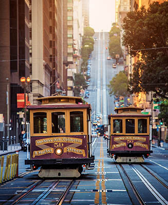 Trolley cars in downtown San Francisco